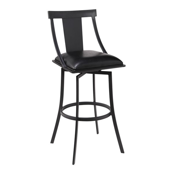 Armen Living Brisbane Ford Black Faux Leather Counter Height Bar Stool ARM-LCBSBAMBBL26