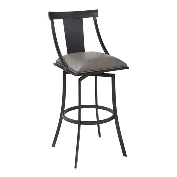 Armen Living Brisbane Grey Faux Leather Counter Height Bar Stool ARM-LCBSBAMBVG26