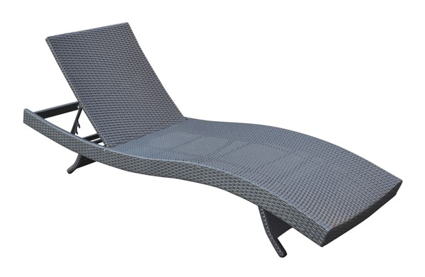 Armen Living Cabana Black Outdoor Adjustable Wicker Lounge Chaise ARM-LCCALOBL