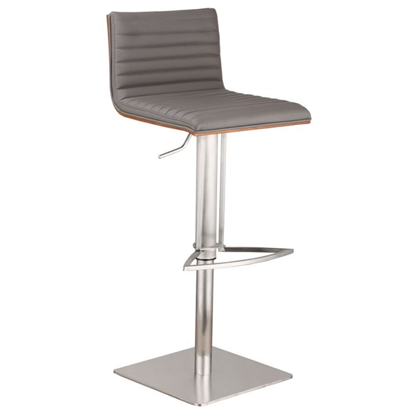 Armen Living Cafe Gray Faux Leather Bar Stool ARM-LCCASWBAGRB201