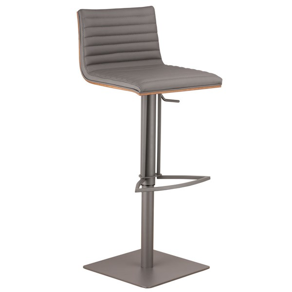 Armen Living Cafe Gray Faux Leather Swivel Bar Stool ARM-LCCASWBAGRBA