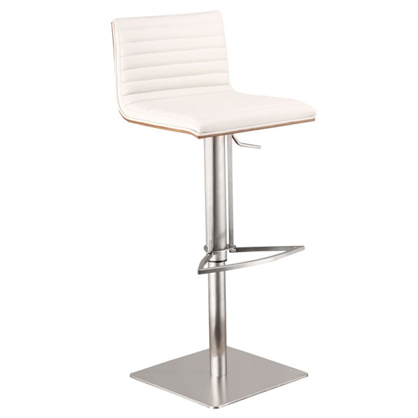 Armen Living Cafe White Faux Leather Adjustable Bar Stool ARM-LCCASWBAWHB201