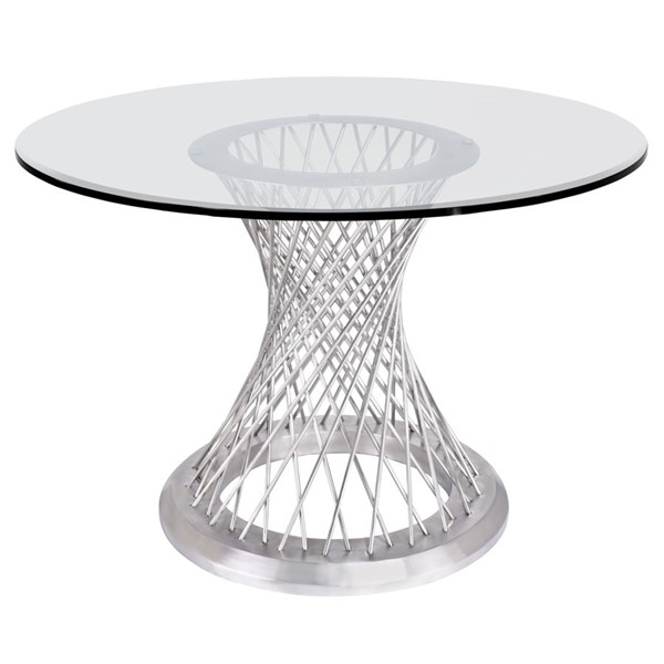 Armen Living Calypso Brushed Clear Glass Dining Table ARM-LCCPDIBABS