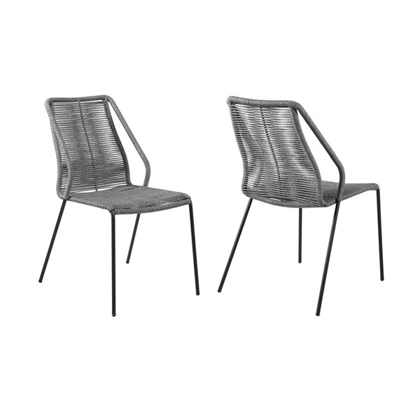 2 Armen Living Clip Black Gray Rope Indoor Outdoor Stackable Dining Chairs ARM-LCCPSIGRY
