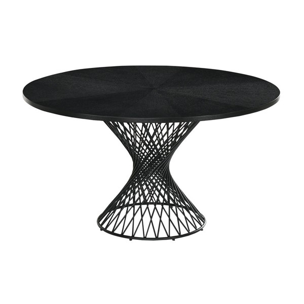 Armen Living Cirque Black Wood 54 Inch Round Pedestal Dining Table ARM-LCCQDIBL