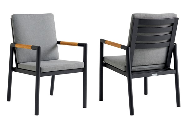 Armen Living Crown Dark Gray Fabric Black Aluminum Outdoor Dining Chairs ARM-LCCRCH-OTD-CH-V