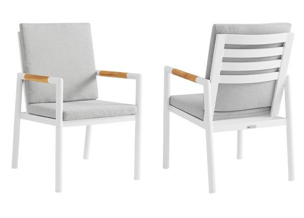 2 Armen Living Crown Light Gray Fabric White Aluminum Outdoor Dining Chairs ARM-LCCRCHWH