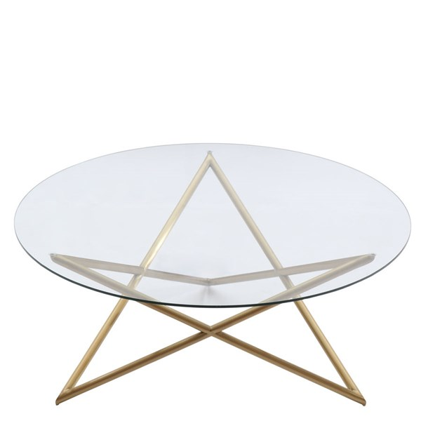 Armen Living Crest Gold Coffee Table ARM-LCCRCOGLGD