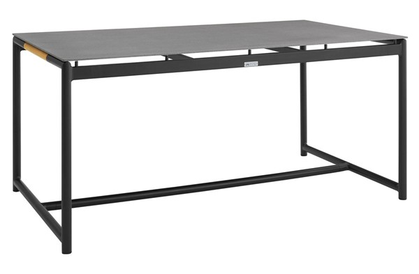 Armen Living Crown Black Aluminum Stone Top Outdoor Dining Tables ARM-LCCRDI-OTD-DT-V