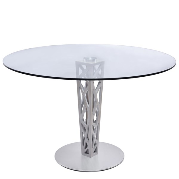 Armen Living Crystal Gray Round Dining Table ARM-LCCRDITOCLGL