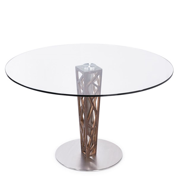 Armen Living Crystal Walnut Round Dining Table ARM-LCCRDITOCLGL