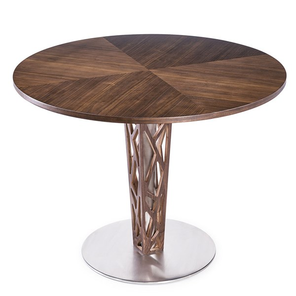 Armen Living Crystal Walnut Wood 48 Inch Dining Table ARM-LCCRDITOWH