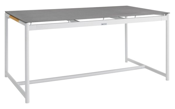 Armen Living Crown White Aluminum Stone Top Outdoor Dining Table ARM-LCCRDIWH