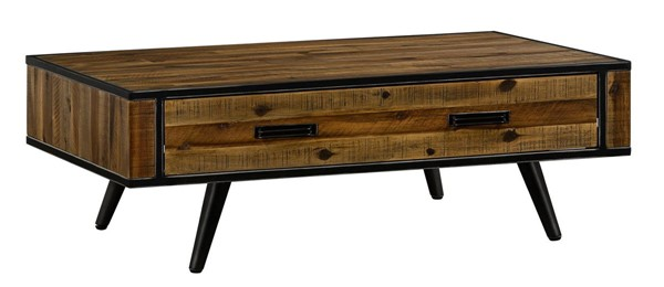 Armen Living Cusco Antique Acacia Wood Coffee Table with Drawer ARM-LCCUCOAC