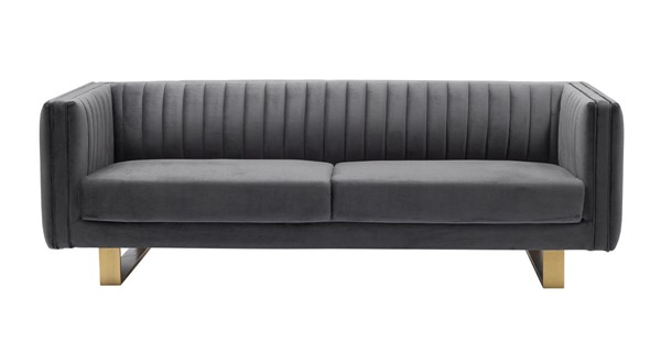 Armen Living Delilah Matte Gold Legs Dark Grey Velvet Sofa ARM-LCDH3GREY