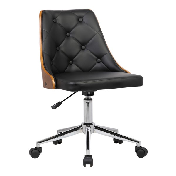 Armen Living Diamond Walnut Black Faux Leather Office Chair ARM-LCDIOFCHBLACK