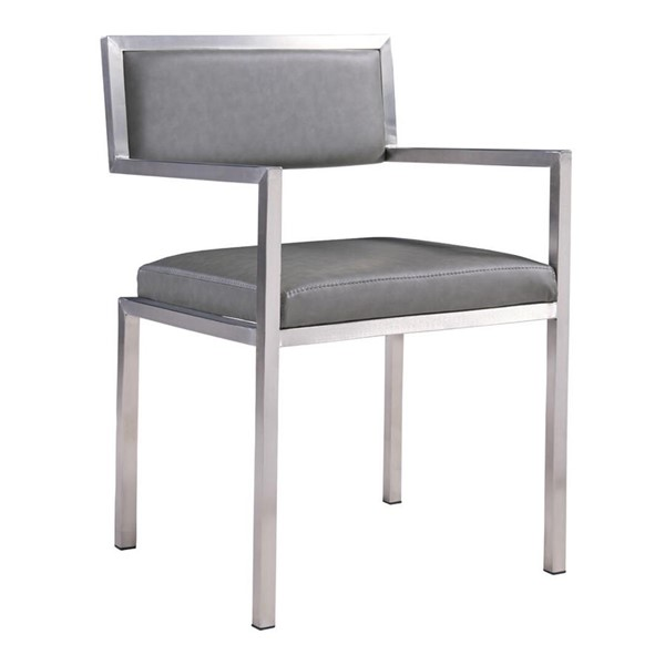 2 Armen Living Dylan Vintage Gray Faux Leather Dining Chair ARM-LCDNCHBSVG