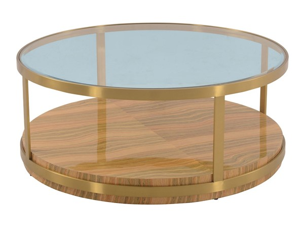 Armen Living Hattie Light Yellow Wood Glass Top Coffee Table ARM-LCDXCOGLGLD