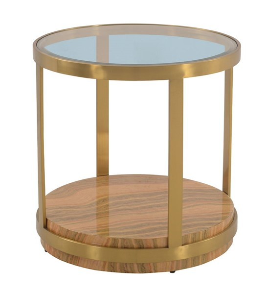 Armen Living Hattie Light Yellow Wood Glass Top End Table ARM-LCDXLAGLGLD