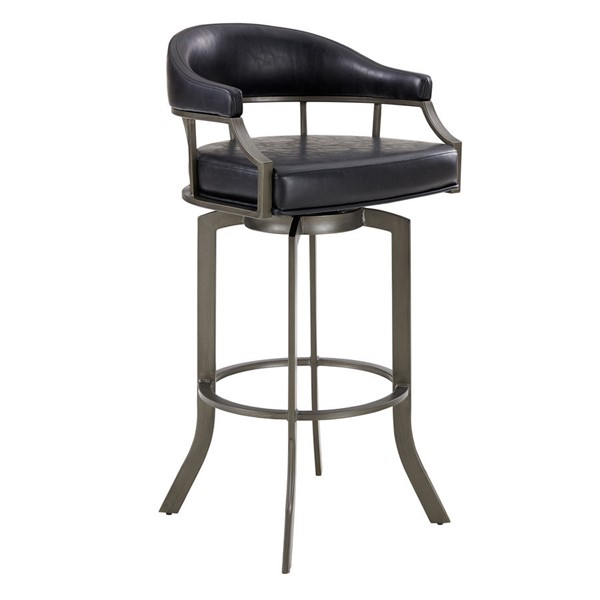 Armen Living Edy Black Swivel 26 Inch Bar Stool ARM-LCEDBAMFVB26