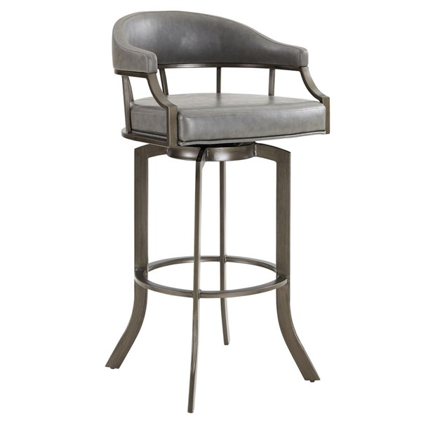 Armen Living Edy Grey Swivel 30 Inch Bar Stool ARM-LCEDBAMFVG30