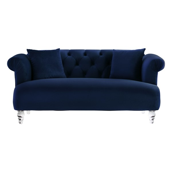 Armen Living Elegance Blue Velvet Loveseat ARM-LCEG2BLUE