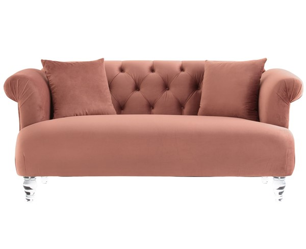 Armen Living Elegance Blush Velvet Loveseat ARM-LCEG2BLUSH