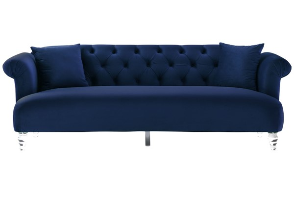 Armen Living Elegance Blue Velvet Sofa with Acrylic Legs ARM-LCEG3BLUE
