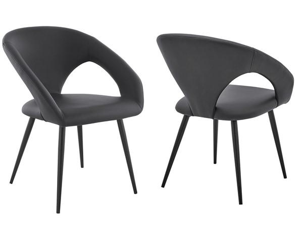 2 Armen Living Elin Gray Faux Leather Black Metal Dining Chairs ARM-LCELCHBLGR