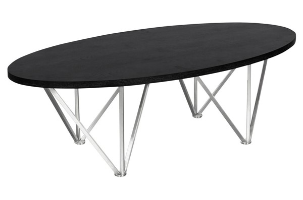 Armen Living Emerald Black Oval Coffee Table ARM-LCEMCOBLBS