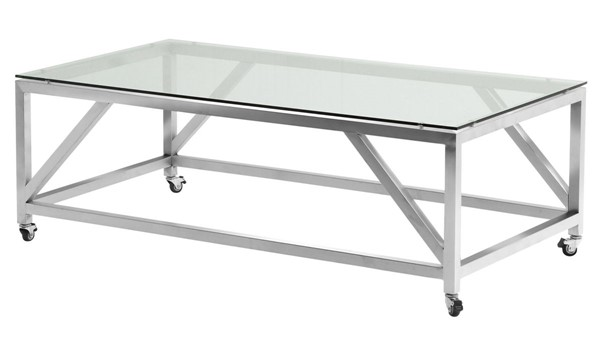 Armen Living Enessa Brushed Glass Top Coffee Table ARM-LCENCOGLBS