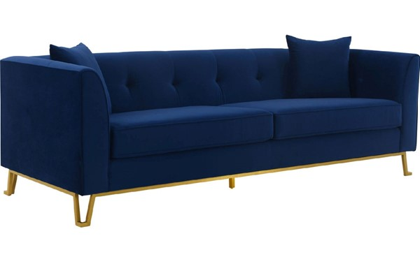 Armen Living Everest Blue Fabric Sofa with Brushed Gold Legs ARM-LCEV3BLUE