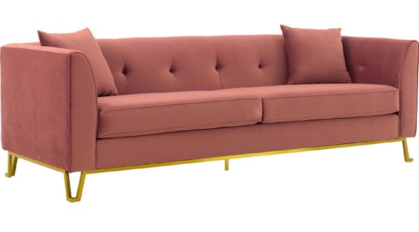 Armen Living Everest Blush Fabric Sofa with Brushed Gold Legs ARM-LCEV3BLUSH