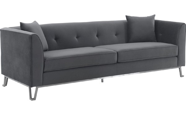Armen Living Everest Gray Fabric Sofa with Brushed Stainless Steel Legs ARM-LCEV3GREY