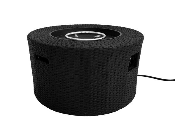 Armen Living Moon Black Nature Texture Outdoor Patio Wicker Fire Pit ARM-LCFPMOBL
