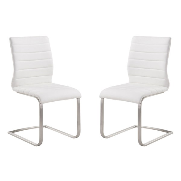 2 Armen Living Fusion White Side Chairs ARM-LCFUSIWH