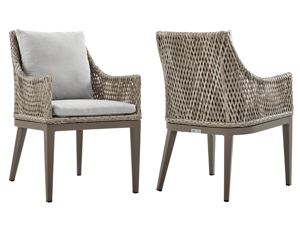 2 Armen Living Grenada Gray Cushions Beige Wicker Outdoor Dining Chairs ARM-LCGDCHGR