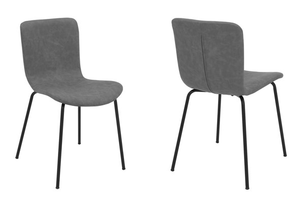 2 Armen Living Gillian Light Gray Fabric Dining Chairs ARM-LCGLSIBLCH