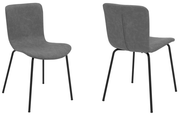 2 Armen Living Gillian Dark Gray Faux Leather Dining Chairs ARM-LCGLSIBLGR