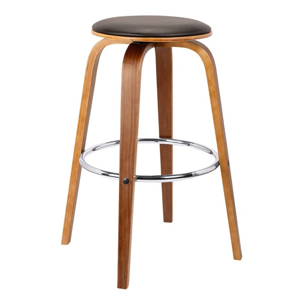 Armen Living Harbor Walnut Brown 30 Inch Swivel Bar Height Backless Barstool ARM-LCHBBABRWA30
