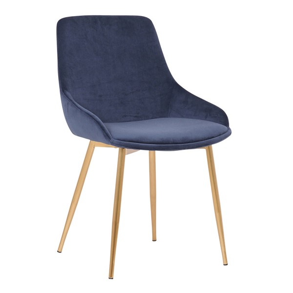 Armen Living Heidi Gold Blue Velvet Dining Accent Chair ARM-LCHESIGLDBLU