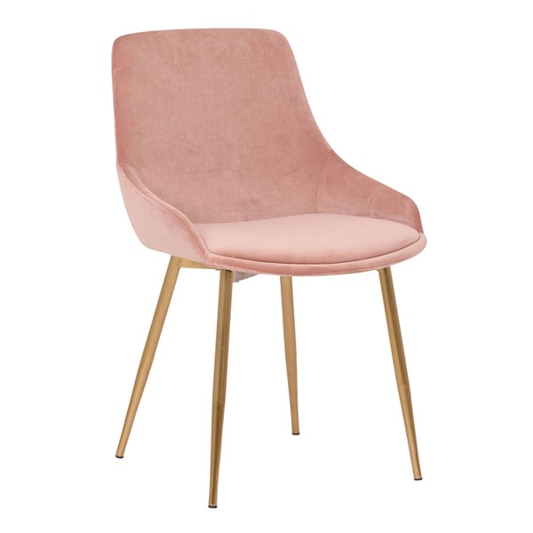Armen Living Heidi Gold Pink Blush Velvet Dining Accent Chair ARM-LCHESIGLDPNK