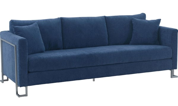 Armen Living Heritage Blue Fabric Sofas with Brushed Stainless Steel Leg ARM-LCHT3-SF-V