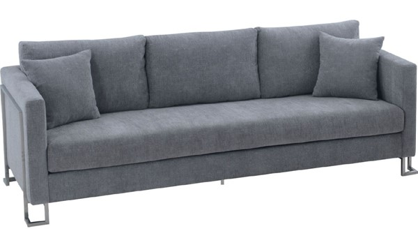 Armen Living Heritage Gray Fabric Sofa with Brushed Stainless Steel Leg ARM-LCHT3GREY