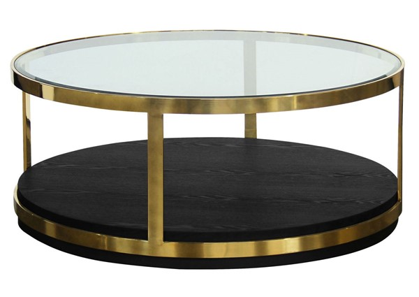 Armen Living Hattie Gold Black Coffee Table ARM-LCHTCOBL