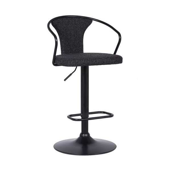 Armen Living Ian Black Adjustable Barstool ARM-LCIASWBABLBL