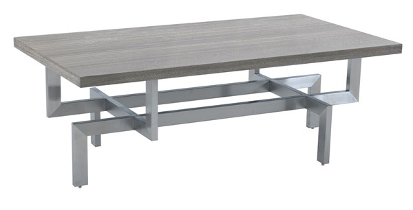 Armen Living Illusion Gray Wood Coffee Table with Brushed Stainless Steel Base ARM-LCILCOBSGR