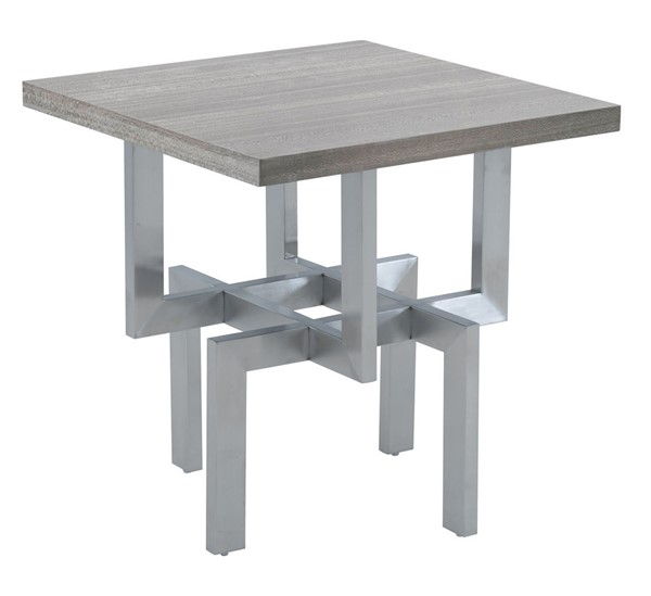 Armen Living Illusion Gray Wood End Table with Brushed Stainless Steel Base ARM-LCILLABSGR