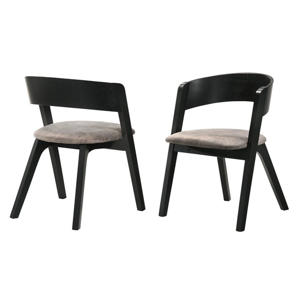 2 Armen Living Jackie Black Brown Fabric Dining Accent Chairs ARM-LCJASIBRBL