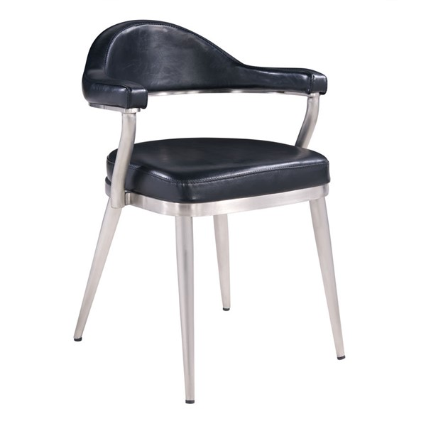 2 Armen Living Justin Brushed Stainless Steel Black Faux Leather Dining Chairs ARM-LCJTCHBSVB